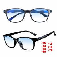 Men Women Multifocal Reading Glasses Anti Blue Light Lens Frame +1.00 to +4.00