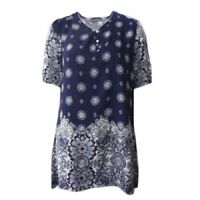 Tunic Top by EVERSUN Plus Size 10 12 14 16 18 20 Navy Paisley Print