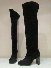 TOPSHOP BLACK SUEDE THIGH HIGH PULL ON BOOTS UK 6 EU 39 (3727)