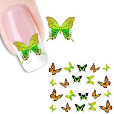 Nagel Sticker Schmetterling Aufkleber Nail Art Design grün orange Natur B23