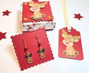 Rudolph Reindeer Earrings,Gift Box, Stocking Filler, Secret Santa, Christmas Eve