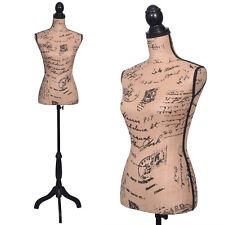Female Mannequin Torso Designer Pattern Dress Form Display W/ Black Tripod Stand