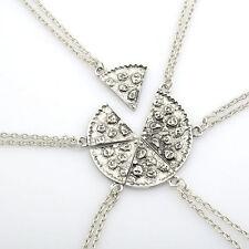 BEST FRIENDS 6 Pcs Set Slice Pizza Charm Pendant Chain Necklace Friendship BFF
