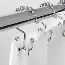 Set of 2 Roller Ball Stainless Steel Bathroom Shower Curtain Rings Hooks