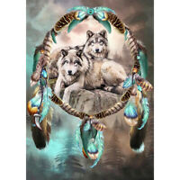 5D DIY Full Drill Diamond Painting Wolf and Dream Catcher Embroidery Kit