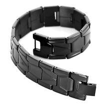 Men's Biker Classic Link Bangle Wrist 316L Stainless Steel Bracelet Black Tone