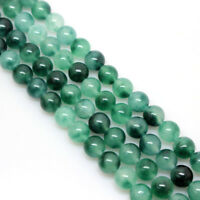 "8mm Genuine Natural Green Emerald Round Gemstone Loose Beads 15"" Strand AAA"