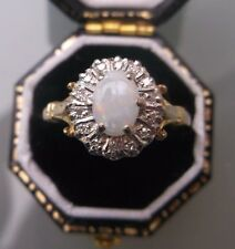 Women's 9ct Gold Opal & Diamond  Ring Weight 1.8g Size N 1/2 Stamped