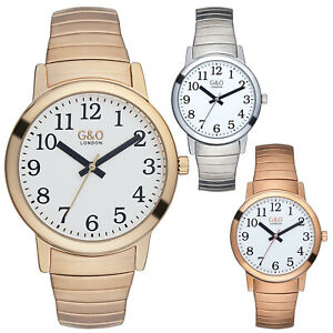 G&O London Unisex Easy Read 3ATM Expandable Wristwatch Silver, Gold, Rose 035