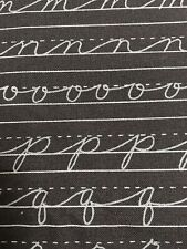 MODA Fabric Mrs.Nelsons 2nd Grd By 3 Sisters Ctn Gray Cursive Letters NEW 2 Yds