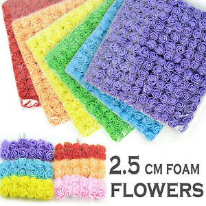 144Pcs 2.5cm Artificial Flowers Mini Foam Roses with Stem Wedding Bouquet stocks