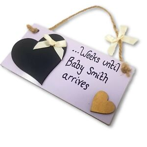 Personalised Baby Countdown Plaque/Sign with Heart-Shaped Chalkboard