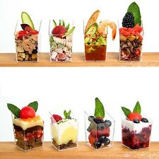 8 Square Tiny Slant Plastic Cups...... high quality clear cube dessert holders