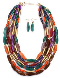 multi coloured resin beaded chunky beads bib collar statement necklace set