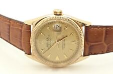Mens ROLEX 6605 14K Yellow Gold Datejust Automatic Swiss Watch