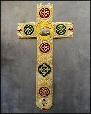 AGNUS DEI  BRODERIE ANCIENNE SOIE FIL D'OR ORNEMENT RELIGIEUX CHASUBLE XIXe
