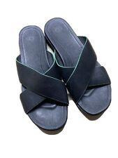 UGG NEW Kari Women's 7M Black Leather Crisscross Open Toe Slide Sandal Shoe