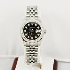 Rolex Ladys Datejust Model 179174 Black Anniversary Dial & 18k Fluted Bezel