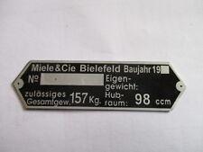 Schild Typenschild id plate Miele BIELEFELD 98 ccm Moped s25 geätzt