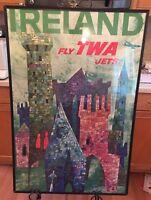 Vintage Original 1960's TWA Travel Poster David Klein Ireland 24x36 NOT A REPRO