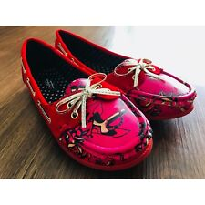 Iron Fist Size 7 Love Me Now Boat Red Tattoo Flat Shoes Slip On NIB
