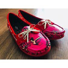 Iron Fist Love Me Now Boat Red Tattoo Flat Shoes Slip Sz 8 On NIB