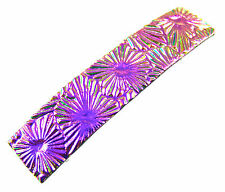 "Hair Barrette Dichroic GLASS 2.5"" Pink Magenta Fuchsia Floral Burst Patterned"