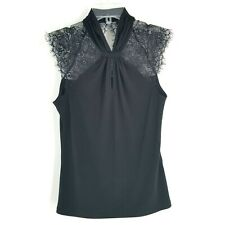 Morgan De Toi Womens S Lace Sleeve Twist Top Blouse Sleeveless 90's Club Wear