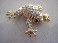 Swarovski Swan Signed Clear Crystal Frog with Green Eye Brooch Unique Gift 214