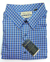 NWT Gold Label Roundtree York Blue Gold Check LS Men Shirt Big Tall Many Sizes