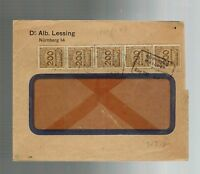 1923 Nuremburg Bavaria Germany Windowed Multi Franking Nov 1923 Inflation Cover