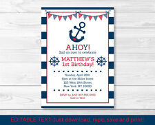 Nautical Anchor Printable Birthday Invitation Navy Blue & Red Editable Pdf