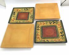Tabletops Gallery LA PROVINCE CORSICA Set 4 Handpainted Square Dinner Plates EUC