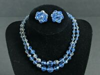 Vtg BLUE SILVER BEAD DOUBLE STRAND NECKLACE CLIP EARRING SET FACETED 50S 60S