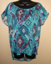 Sheer Aztec Peacock Top Shirt Blouse W/ Metalic Threads & Sequin Accents Sz L