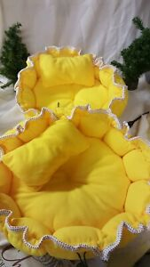 Pair of Yellow Fleece  Drawstring Nesting Dog or Cat Beds with pillow