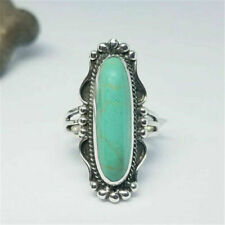 Fashion Women's Bright Romantic Silver Emerald Ring Engagement Jewelry size 9