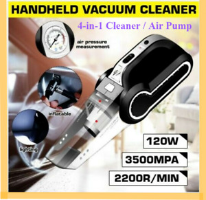 Car Vacuum Cleaner Handheld 4-in-1 Air Pump Portable Wet Dry Tyre Tire 12v 120w