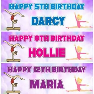 2 Personalised Gymnastic Birthday Party Celebration Banners Decoration Posters