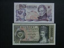 Banknoten  50 + 100 Schilling, ungefaltet, 2. Republik