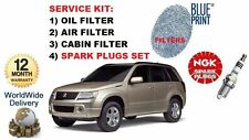 FOR SUZUKI GRAND VITARA 2.4 2008> SERVICE OIL AIR CABIN FILTER + SPARK PLUGS SET