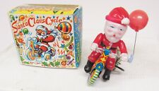 Vintage Tin Litho Santa Claus on Tricycle Wind Up Toy Works Japan Old Stock