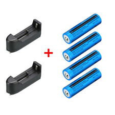 4x 18650 Battery 3.7V Li-ion Rechargeable Battery For Torch + 2x Smart Charger