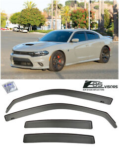 For 11-20 Dodge Charger IN-CHANNEL SMOKE TINTED Side Window Visors Rain Guards