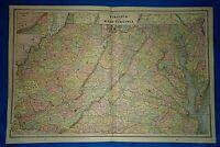 Vintage 1892 MAP ~ VIRGINIA - WEST VIRGINIA ~ Old Antique Original Atlas Map