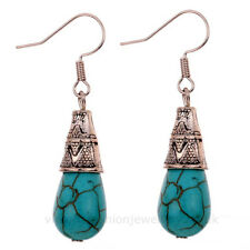 Turquoise Teardrop Earrings ANTIQUE SILVER Drop Dangle Hook Briolette Bead Boho