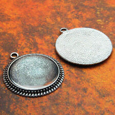 10 QTY - PRO 30MM FILIGREE ANTIQUE SILVER Photo Pendant Tray Bezel & DOME GLASS