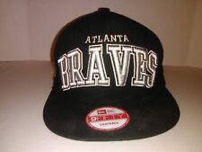 New Era 9Fifty Atlanta Braves Dog Ear Snapback Hat (Black) Men's Cap - New