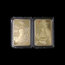 Masonic Golden Bullion Bar Illuminati Challenge Coin Freemason Collectible