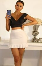 WOMENS LADIES V NECK RUFFLE FRILL STRAP RUCHED PLUNGE SEXY CROP TOP BRALET SHIRT